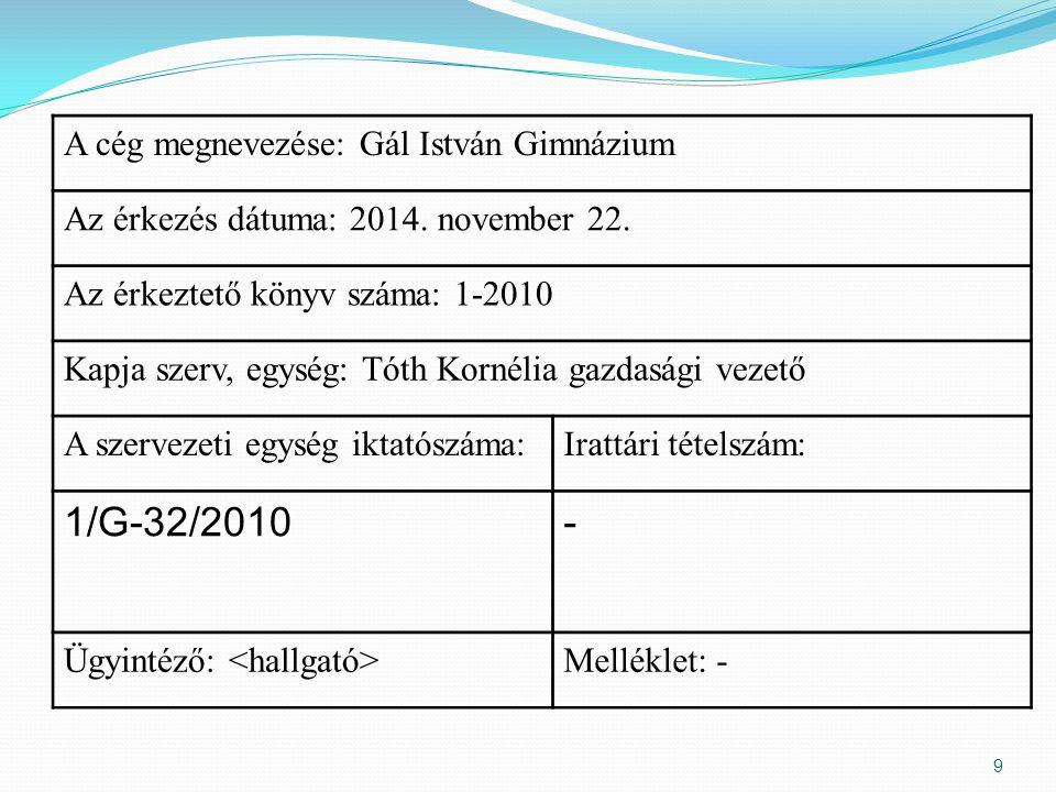 1/G-32/2010 - A cég megnevezése: Gál István Gimnázium