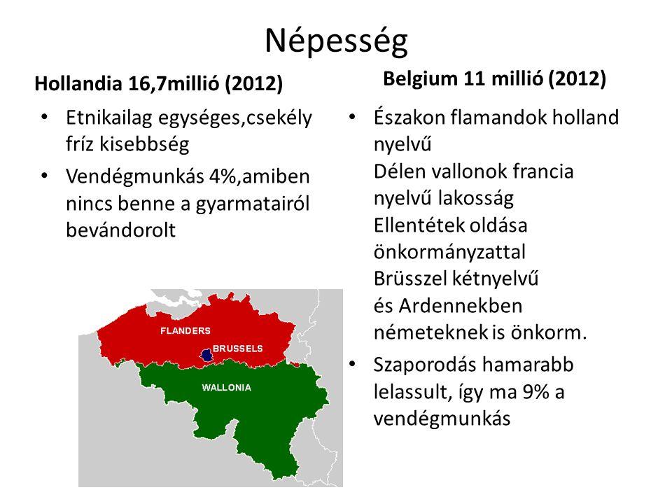 Népesség Hollandia 16,7millió (2012) Belgium 11 millió (2012)