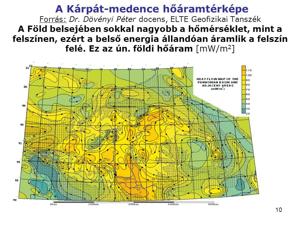 A Kárpát-medence hőáramtérképe Forrás: Dr