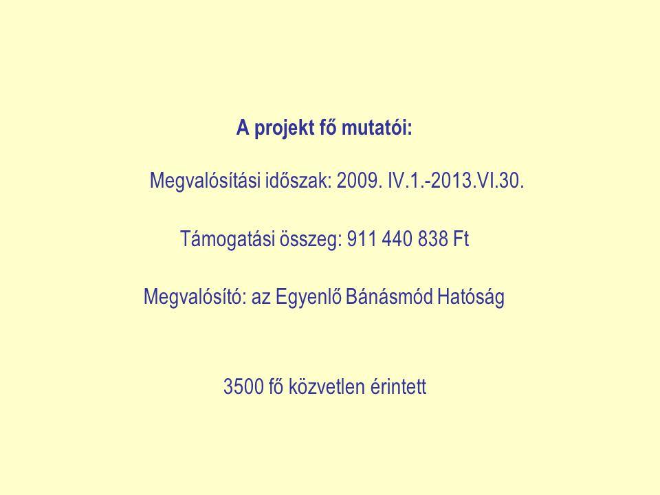 A projekt fő mutatói: Megvalósítási időszak: 2009. IV.1.-2013.VI.30.