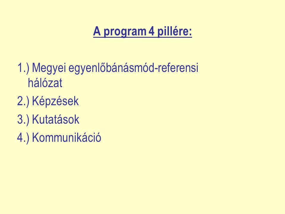 A program 4 pillére: 1.) Megyei egyenlőbánásmód-referensi hálózat. 2.) Képzések. 3.) Kutatások.