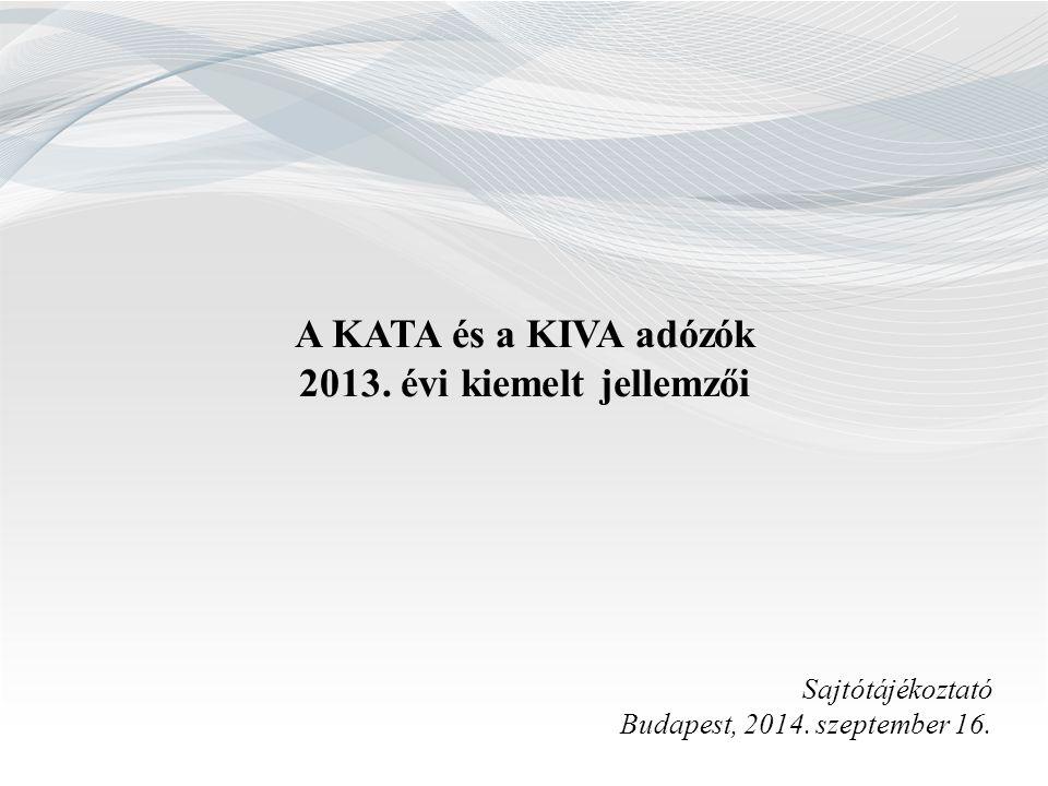 A KATA és a KIVA adózók 2013. évi kiemelt jellemzői