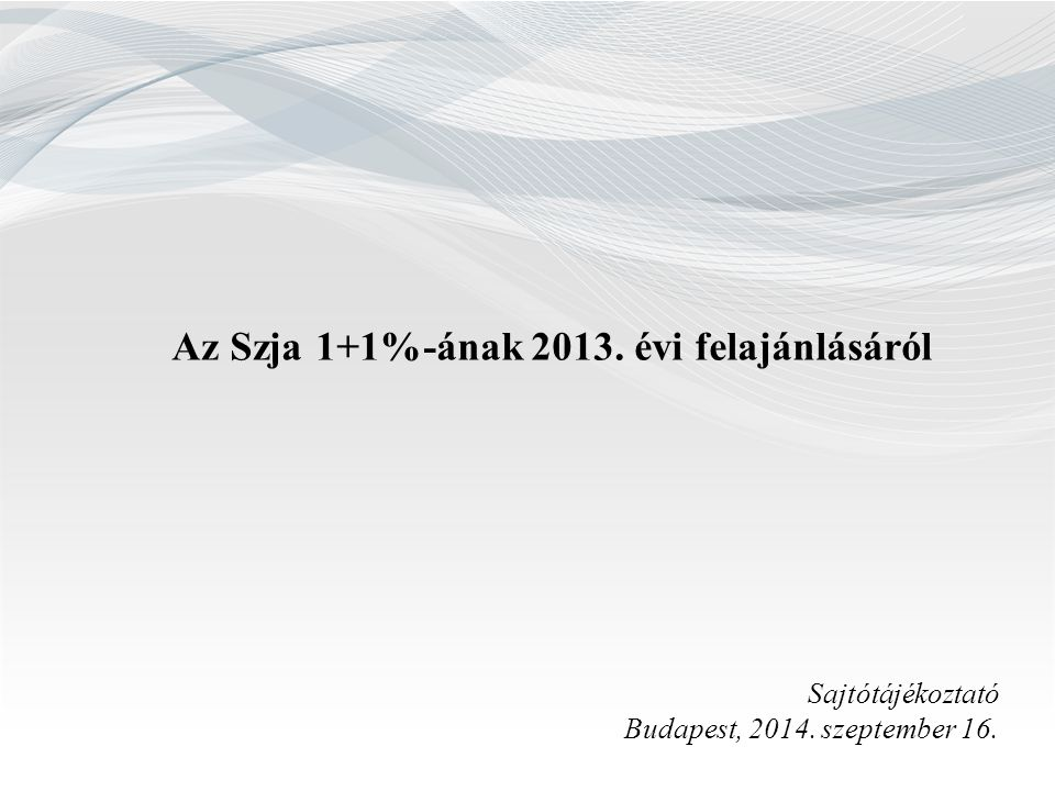 Az Szja 1+1%-ának 2013. évi felajánlásáról