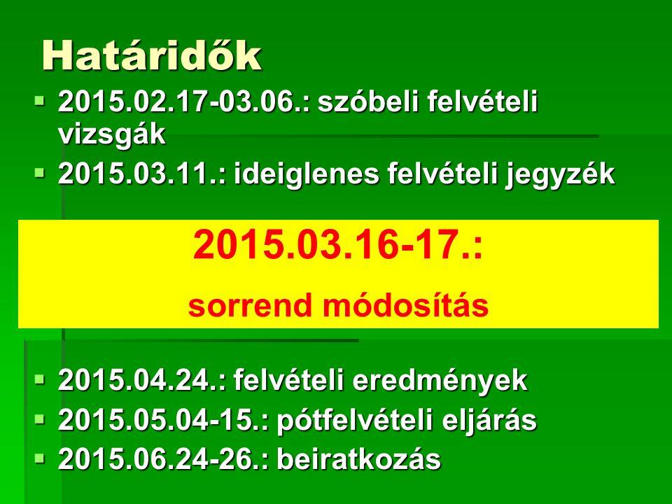 Határidők 2015.03.16-17.: sorrend módosítás