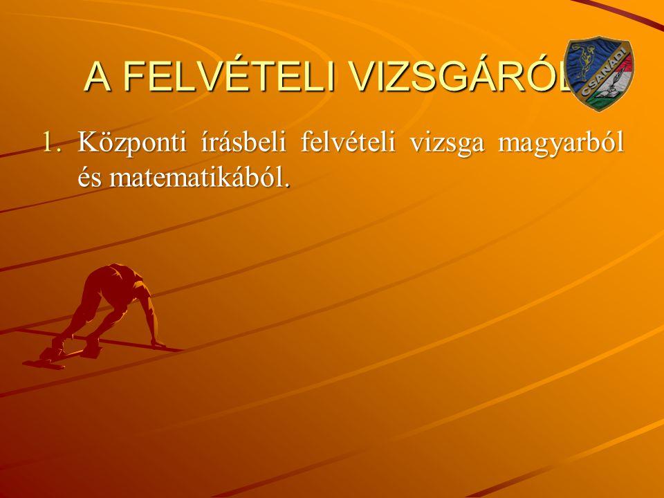 A FELVÉTELI VIZSGÁRÓL Központi írásbeli felvételi vizsga magyarból és matematikából.