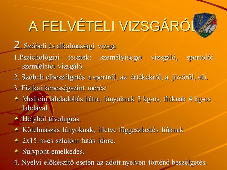 A FELVÉTELI VIZSGÁRÓL 2. Szóbeli és alkalmassági vizsga