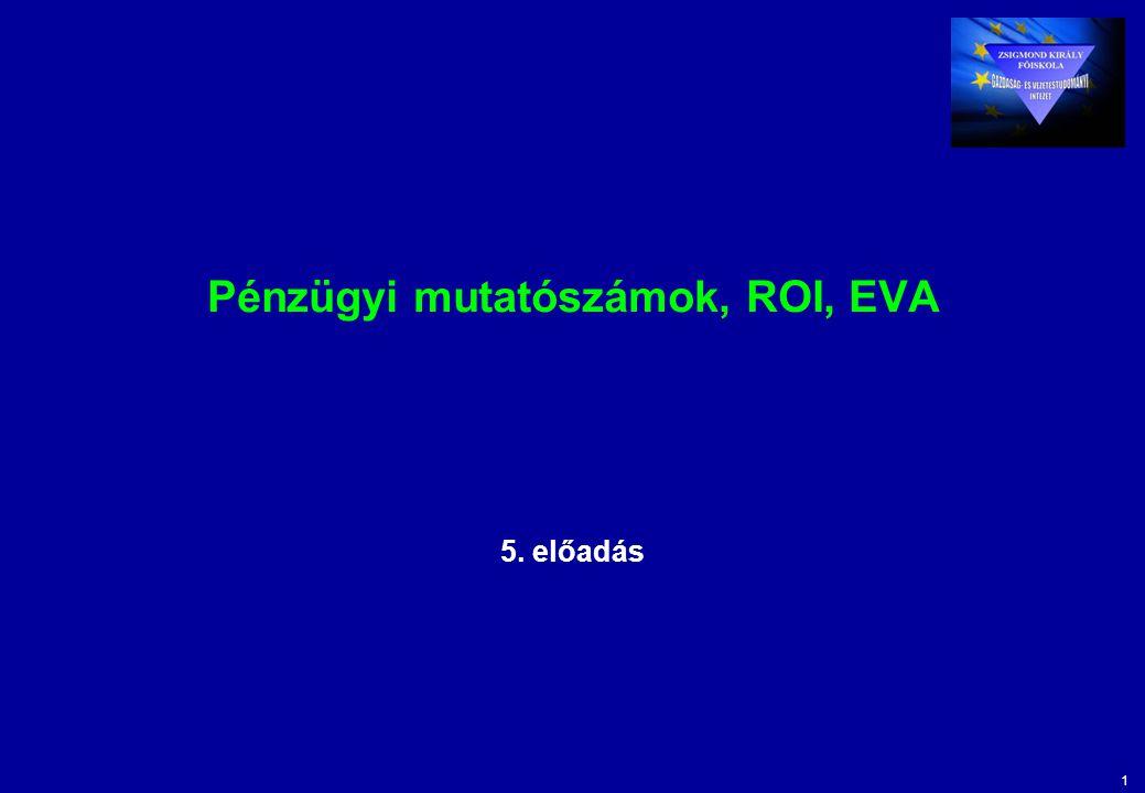 Pénzügyi mutatószámok, ROI, EVA