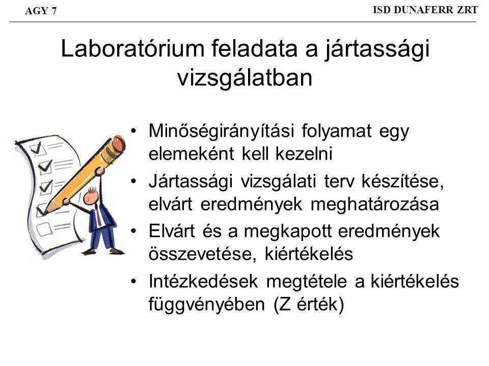 Laboratórium feladata a jártassági vizsgálatban