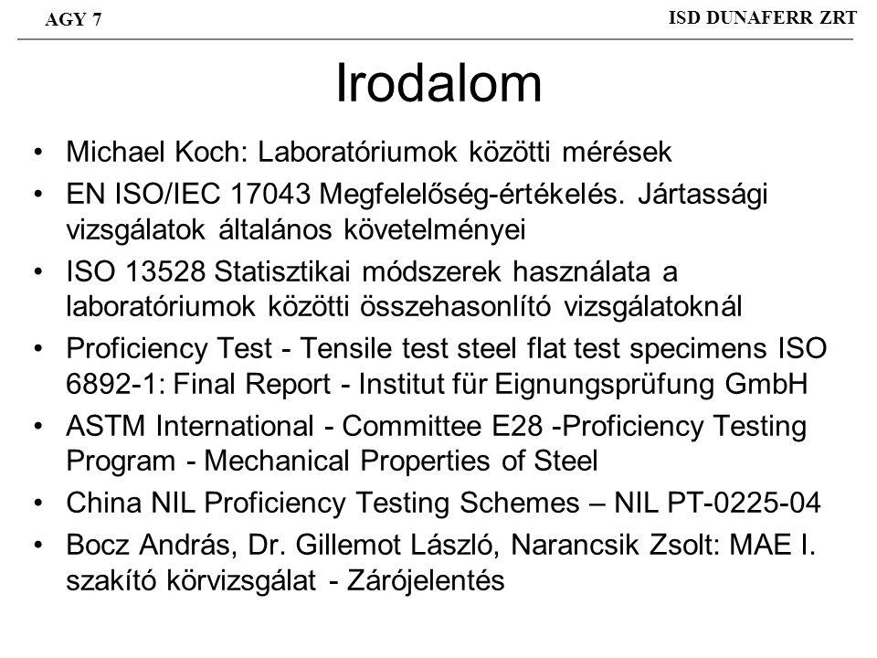 Irodalom Michael Koch: Laboratóriumok közötti mérések