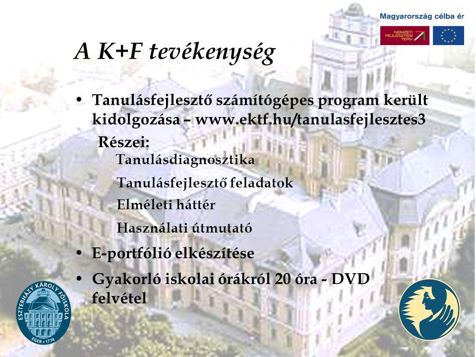 A K+F tevékenység Tanulásfejlesztő számítógépes program került kidolgozása – www.ektf.hu/tanulasfejlesztes3.
