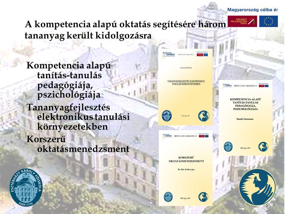 A kompetencia alapú oktatás segítésére három tananyag került kidolgozásra