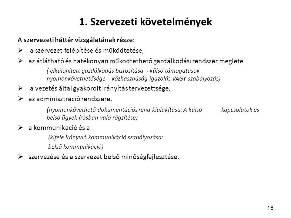 1. Szervezeti követelmények