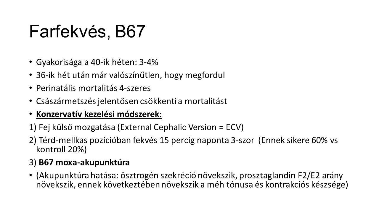 Farfekvés, B67 Gyakorisága a 40-ik héten: 3-4%