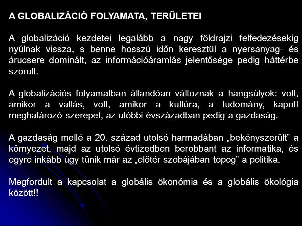 A GLOBALIZÁCIÓ FOLYAMATA, TERÜLETEI