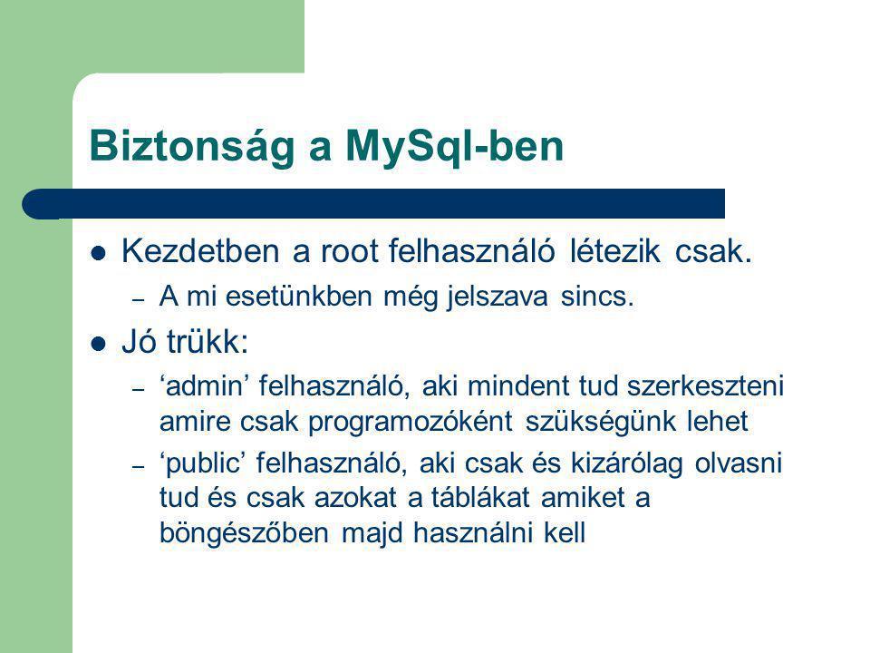 Biztonság a MySql-ben Kezdetben a root felhasználó létezik csak.