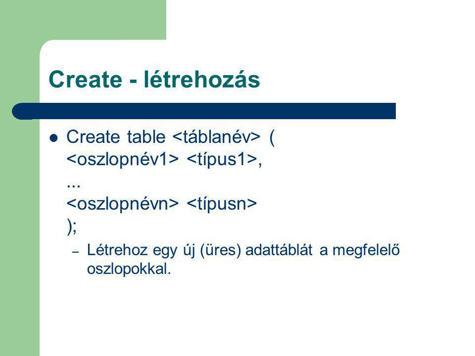 Create - létrehozás Create table <táblanév> ( <oszlopnév1> <típus1>, ... <oszlopnévn> <típusn> );