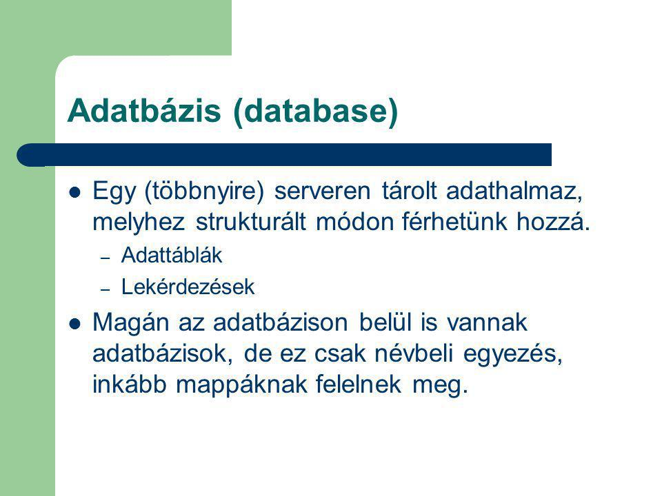 Adatbázis (database) Egy (többnyire) serveren tárolt adathalmaz, melyhez strukturált módon férhetünk hozzá.