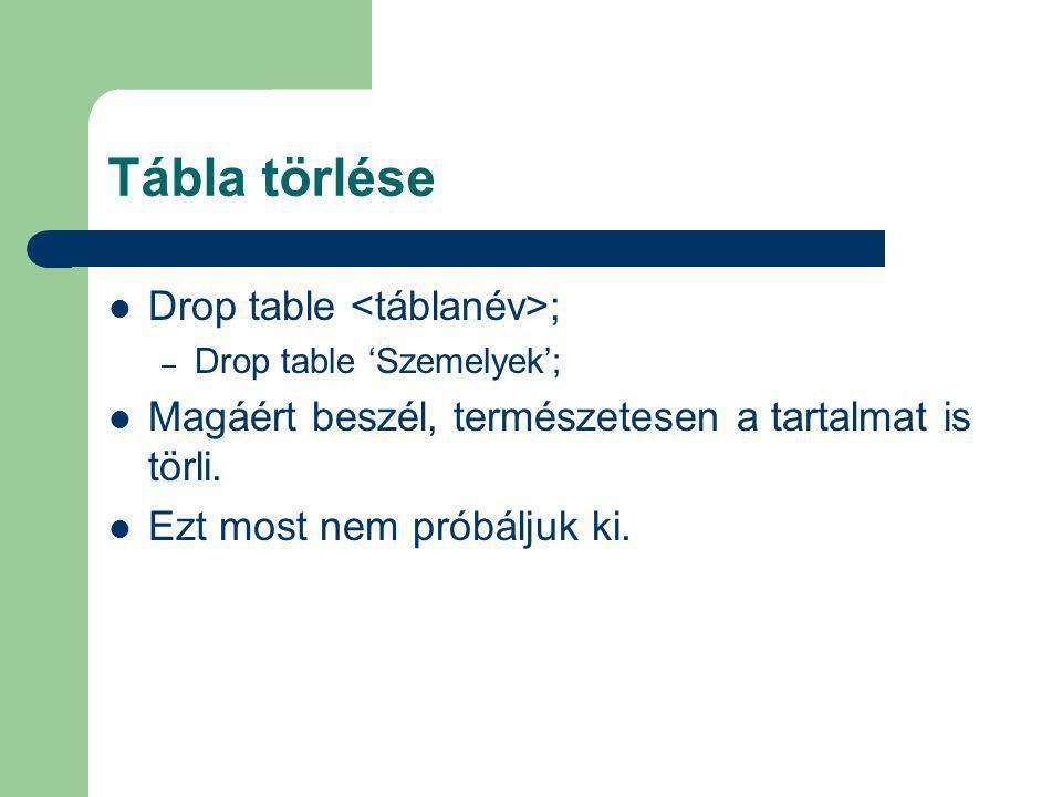 Tábla törlése Drop table <táblanév>;