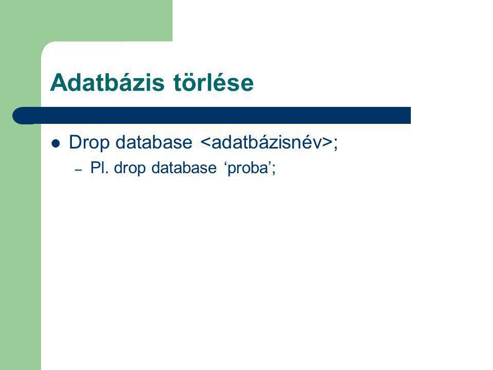 Adatbázis törlése Drop database <adatbázisnév>;