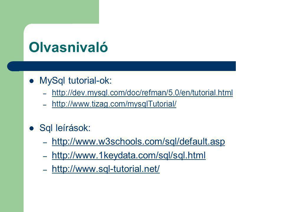 Olvasnivaló MySql tutorial-ok: Sql leírások: