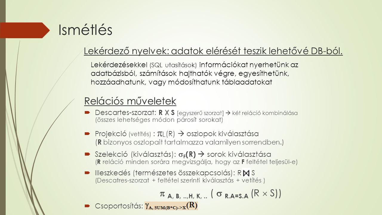 Ismétlés Relációs műveletek  A, B, ..,H, K, .. (  R.A=S.A (R  S))