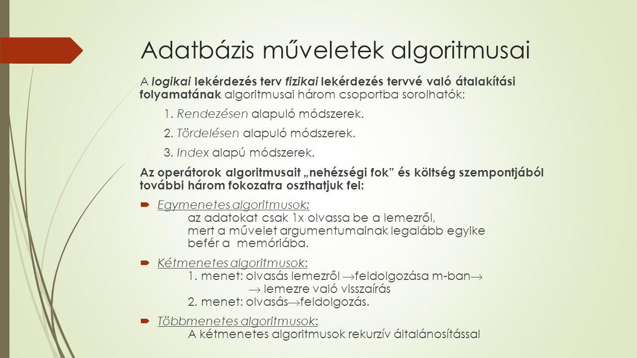 Adatbázis műveletek algoritmusai