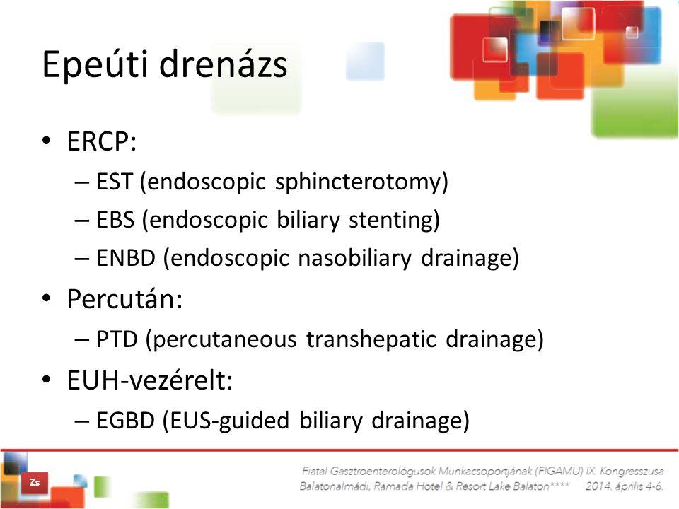 Epeúti drenázs ERCP: Percután: EUH-vezérelt: