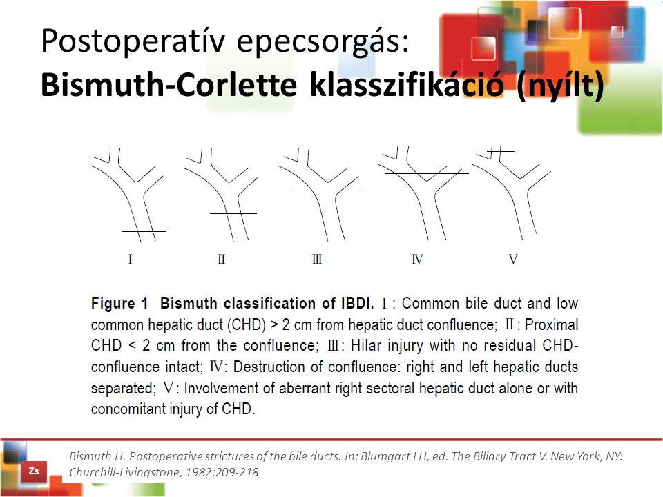 Postoperatív epecsorgás: Bismuth-Corlette klasszifikáció (nyílt)