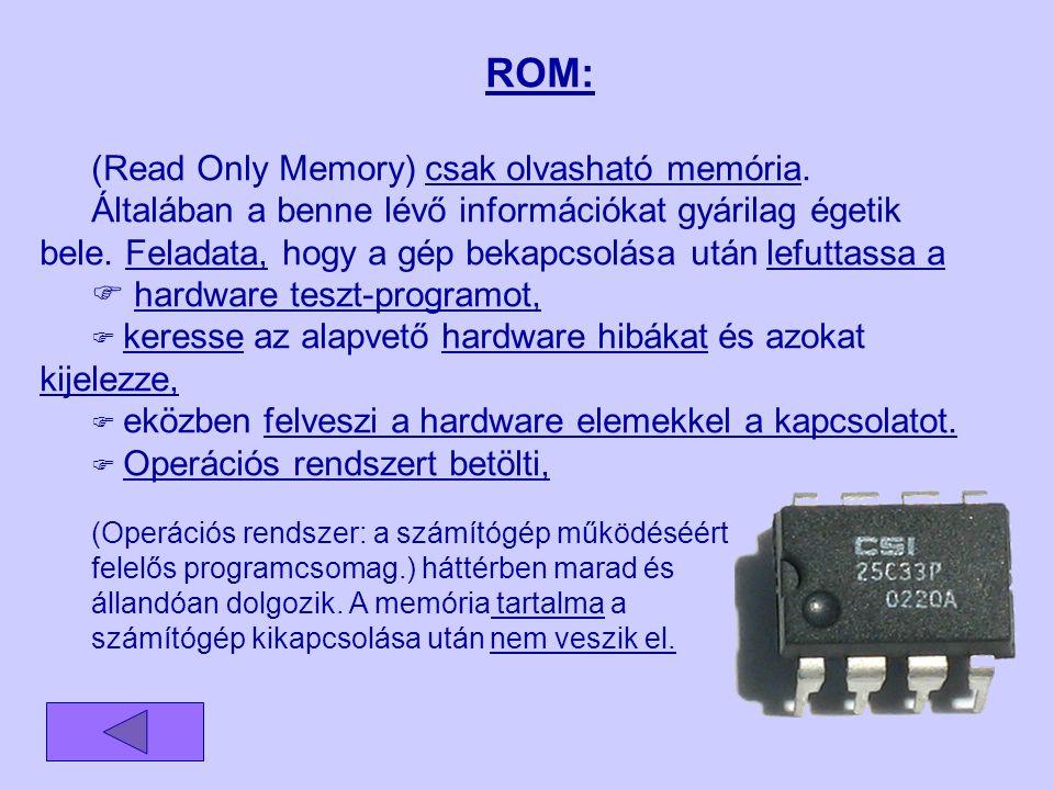 ROM: (Read Only Memory) csak olvasható memória.