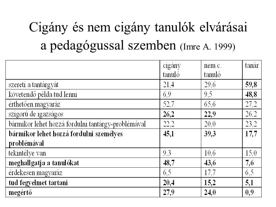 Cigány és nem cigány tanulók elvárásai a pedagógussal szemben (Imre A