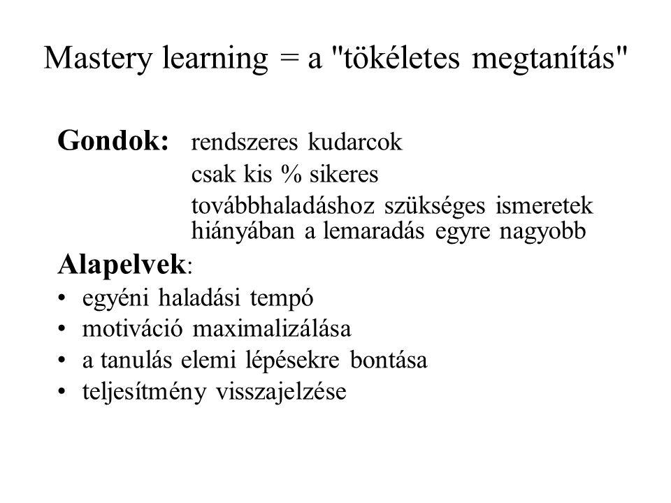 Mastery learning = a tökéletes megtanítás
