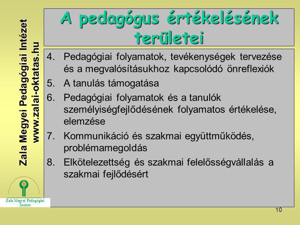 A pedagógus értékelésének területei
