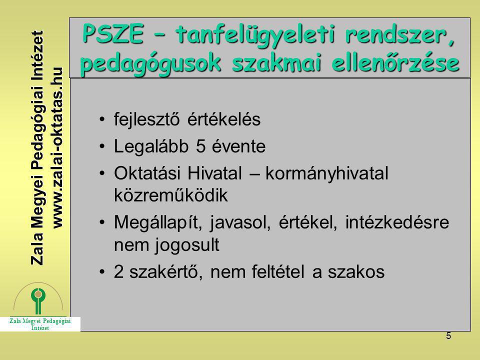 PSZE – tanfelügyeleti rendszer, pedagógusok szakmai ellenőrzése