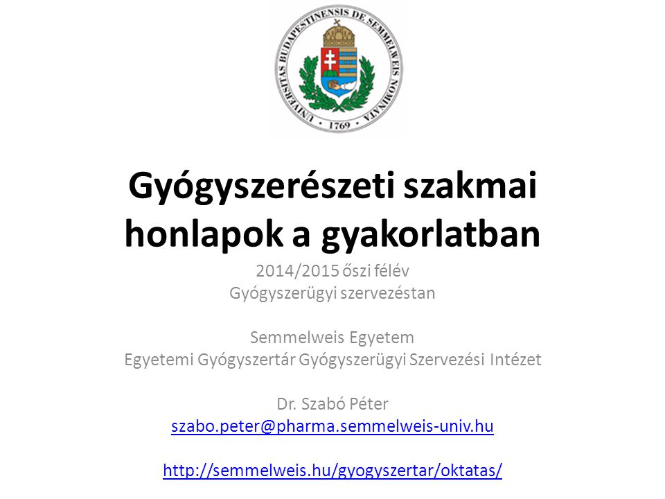 Gyógyszerészeti szakmai honlapok a gyakorlatban