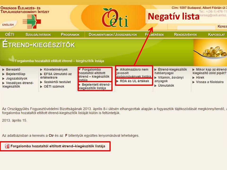 Negatív lista