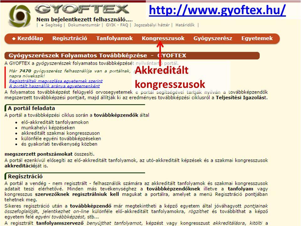 http://www.gyoftex.hu/ Akkreditált kongresszusok