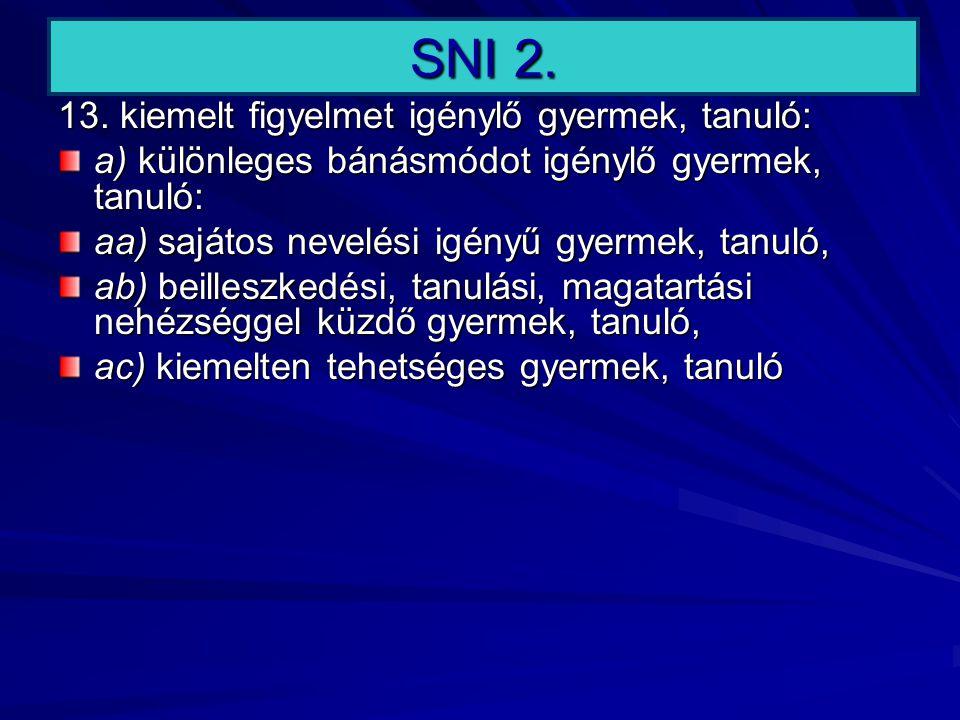 SNI 2. 13. kiemelt figyelmet igénylő gyermek, tanuló: