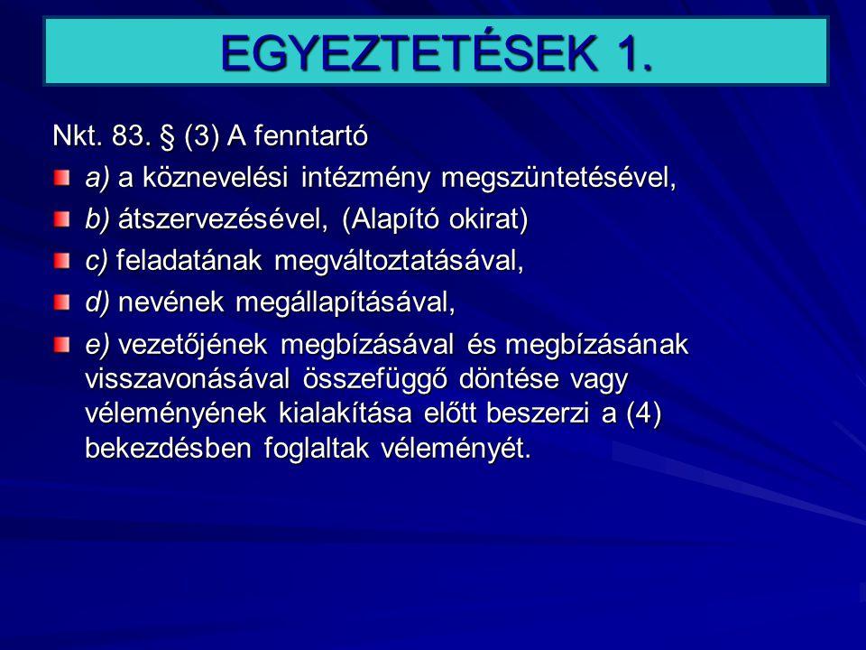 EGYEZTETÉSEK 1. Nkt. 83. § (3) A fenntartó
