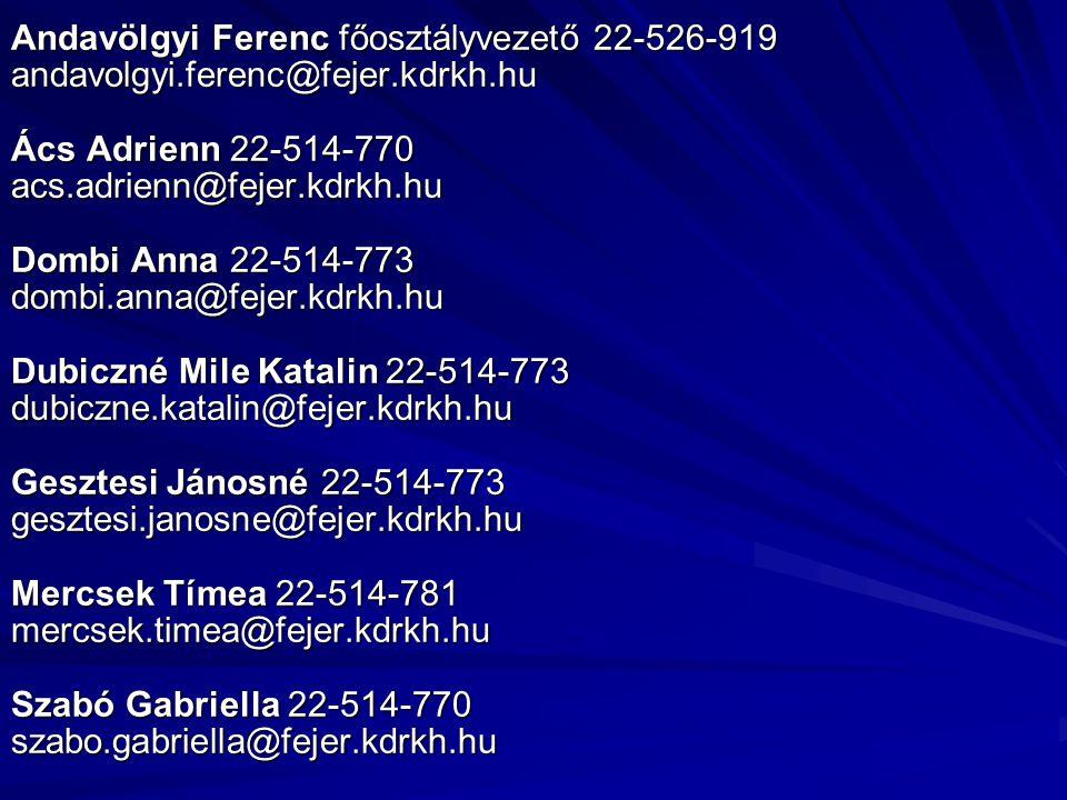 Andavölgyi Ferenc főosztályvezető 22-526-919 andavolgyi. ferenc@fejer