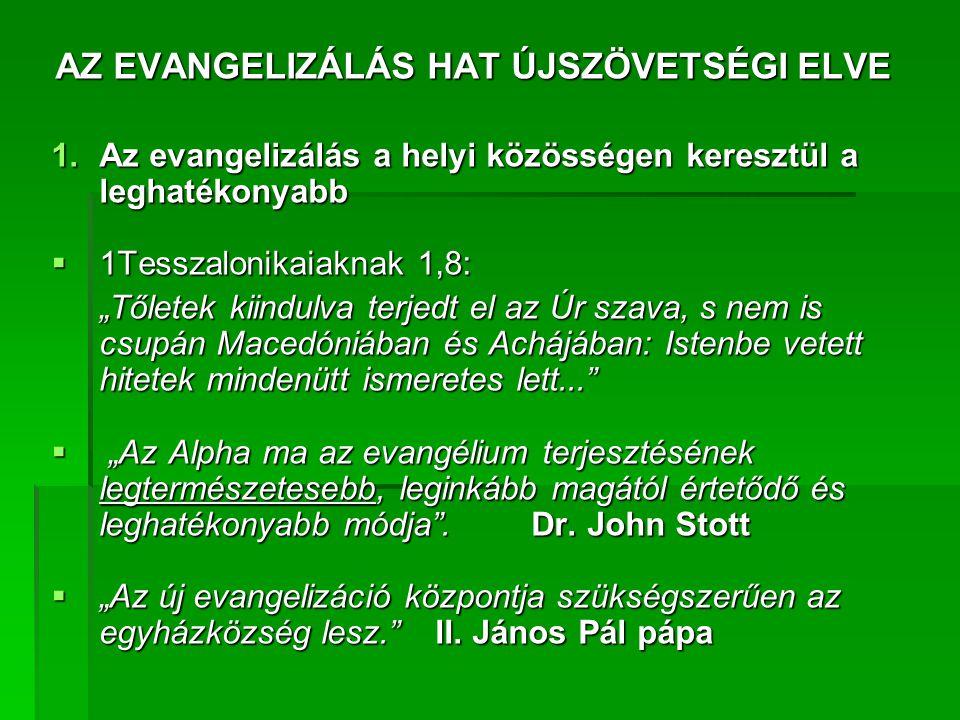 AZ EVANGELIZÁLÁS HAT ÚJSZÖVETSÉGI ELVE