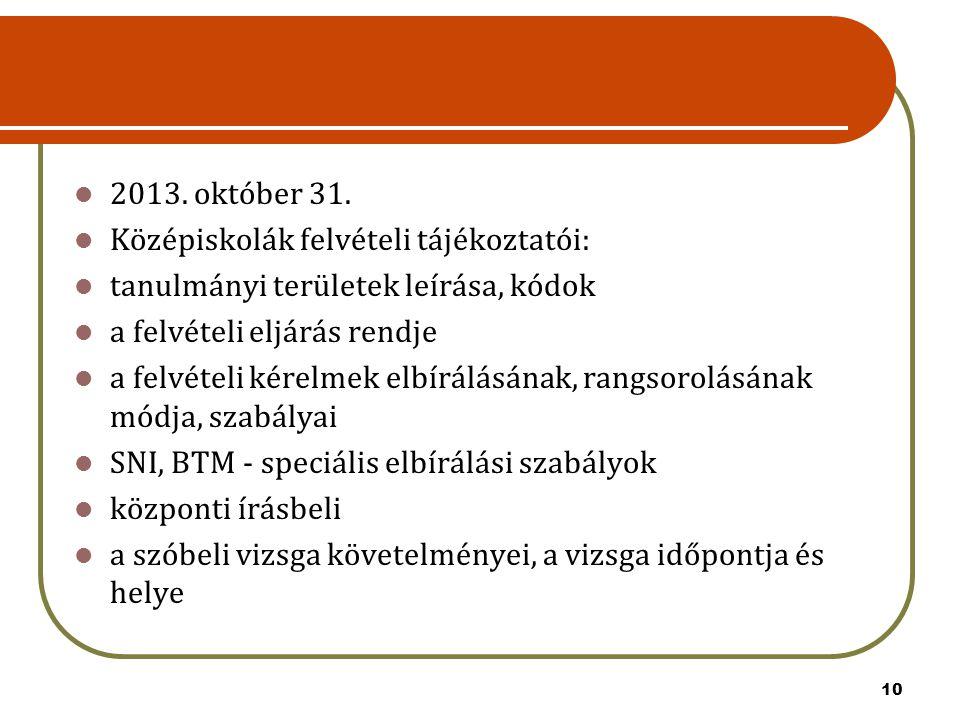 2013. október 31. Középiskolák felvételi tájékoztatói: tanulmányi területek leírása, kódok. a felvételi eljárás rendje.