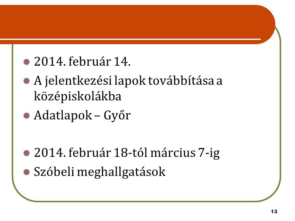 2014. február 14. A jelentkezési lapok továbbítása a középiskolákba. Adatlapok – Győr. 2014. február 18-tól március 7-ig.