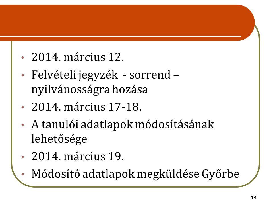 2014. március 12. Felvételi jegyzék - sorrend – nyilvánosságra hozása. 2014. március 17-18. A tanulói adatlapok módosításának lehetősége.