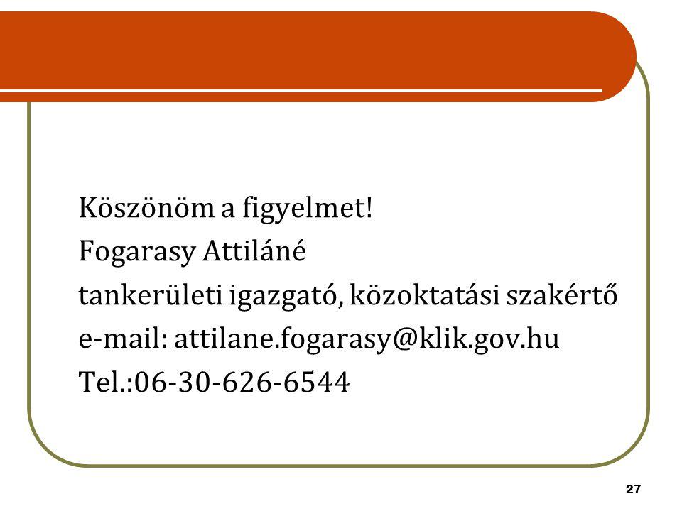 Köszönöm a figyelmet! Fogarasy Attiláné. tankerületi igazgató, közoktatási szakértő. e-mail: attilane.fogarasy@klik.gov.hu.