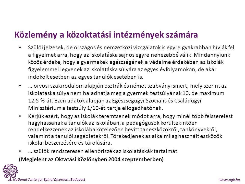 Közlemény a közoktatási intézmények számára