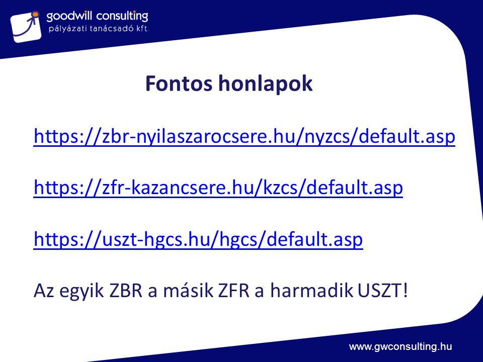 Fontos honlapok https://zbr-nyilaszarocsere.hu/nyzcs/default.asp