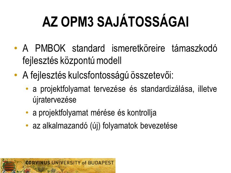 Az opm3 sajátosságai A PMBOK standard ismeretköreire támaszkodó fejlesztés központú modell. A fejlesztés kulcsfontosságú összetevői: