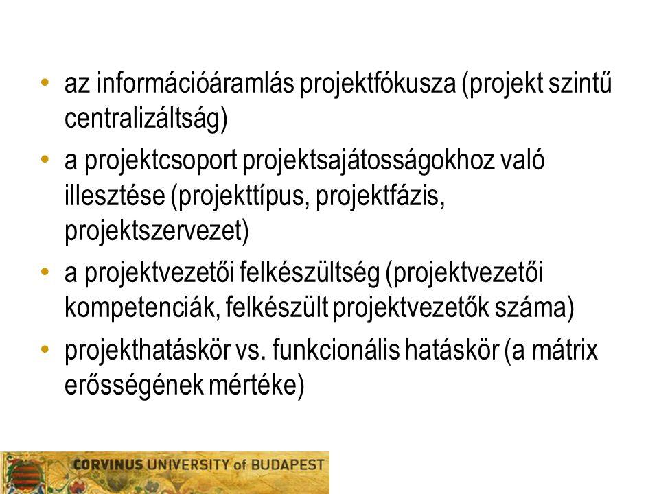 az információáramlás projektfókusza (projekt szintű centralizáltság)