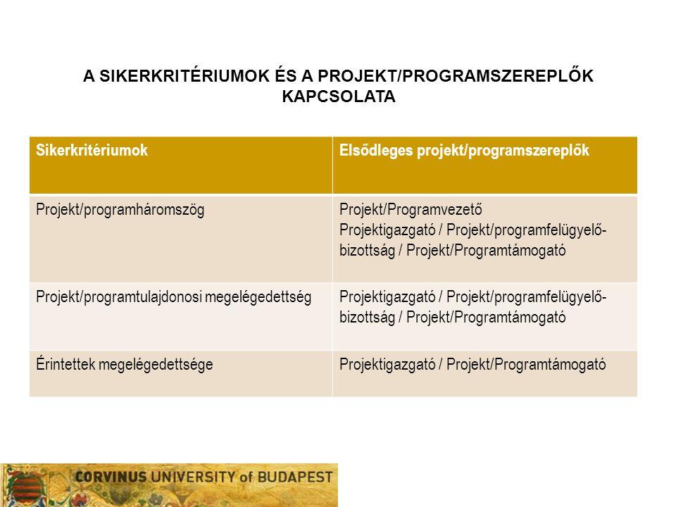 A sikerkritériumok és a projekt/programszereplők kAPCSOLATA