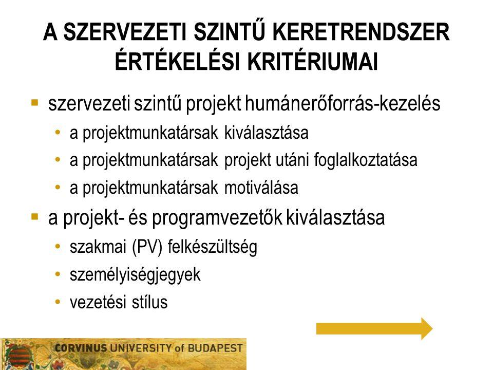 A szervezeti szintű keretrendszer értékelési kritériumai